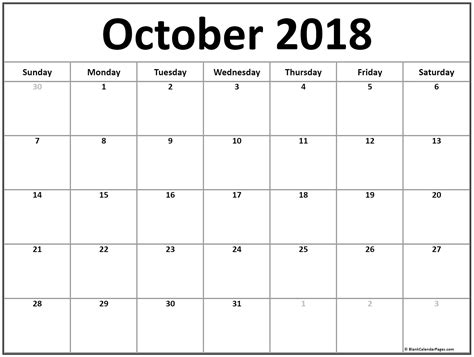 printable calendar oct 2018 october 2018 calendar 51 calendar templates of 2018