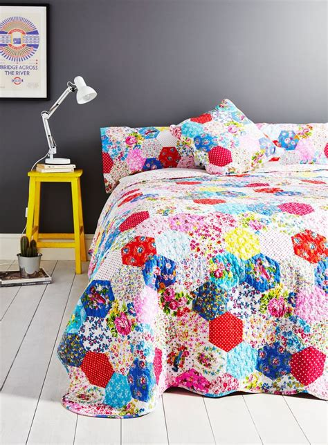 Bhs Bedding Sets Uk Faux Patchwork Bedding Gray And Aqua For The Home More Bedspread And Bhs Ideas