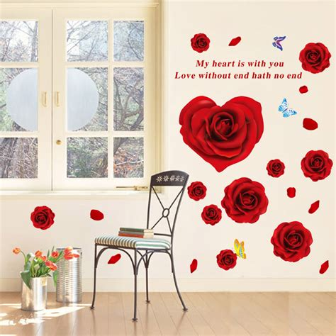 romantic red rose flowers wall decals living room bedroom romantic rose flower wall stickers for girls room living