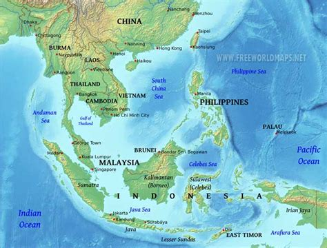 east asia physical map southeast asia physical map