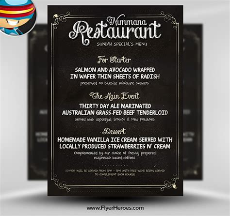 menu poster template free chalk board menu psd flyer template