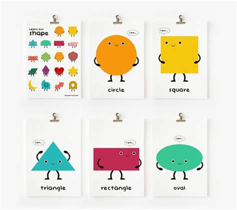 geometric shapes flash cards pictures to pin on pinterest children decor cute geometric shapes flash cards set of 18