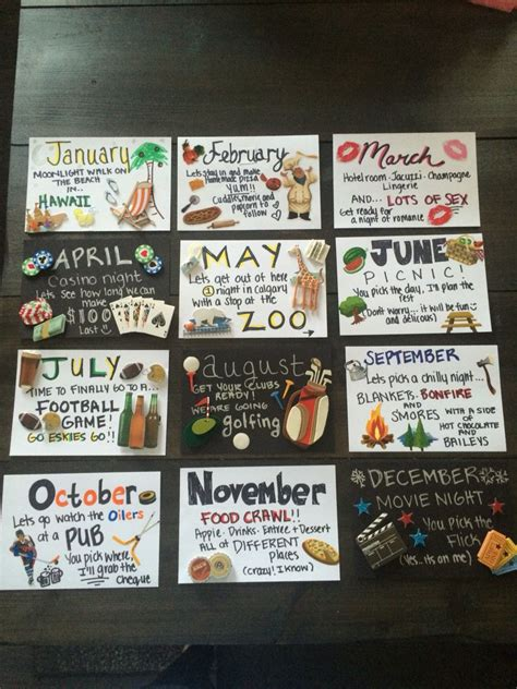 12 dates for husbands gift 12 months of dates great for anniversary or birthday gift great ideas 12 months