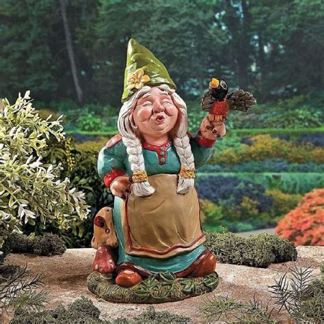 gnome in front yard singing garden gnome decor front back yard accent