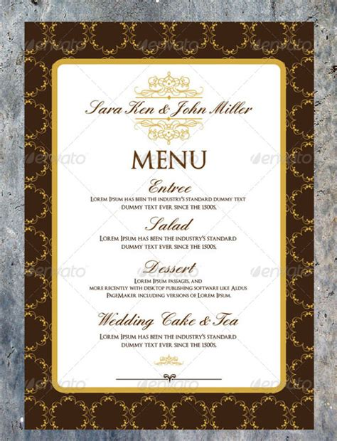 Menu Invitation Template wedding menu template 24 in pdf psd word