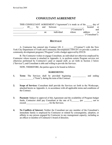 Consultant Contract Agreement In Word And Pdf Formats Educational Consultant Contract Template
