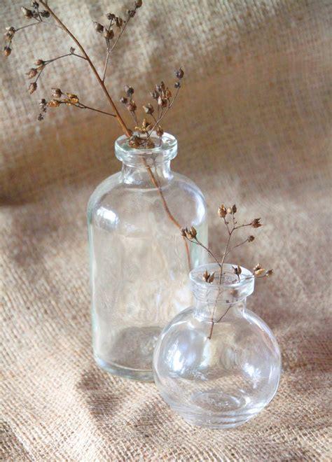 Tall Bud Vase   Clear Glass Bottle   Wedding Decor