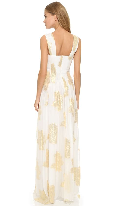 Dress Maxi Lucia Dress Black White lyst diane furstenberg lillie maxi dress ivory gold in white