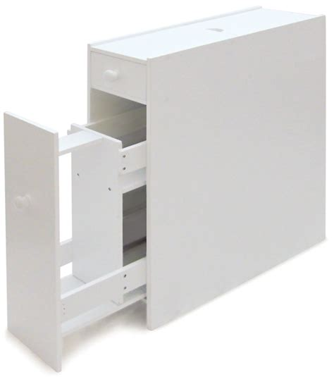 slimline bathroom storage cupboard cabinet unit rack white