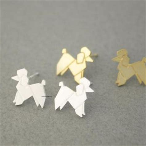 Origami Poodle - origami lovely balloon poodle stud earrings in 2
