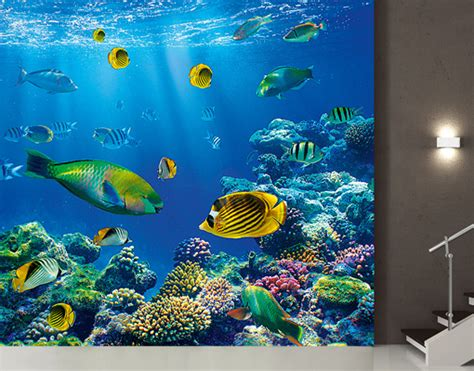 underwater wall mural photo wall mural underwater world 300x280 wallpaper wall wall decor fishes ebay