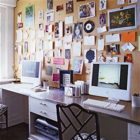 home office design board bulletin board behind desk how to organize your desk