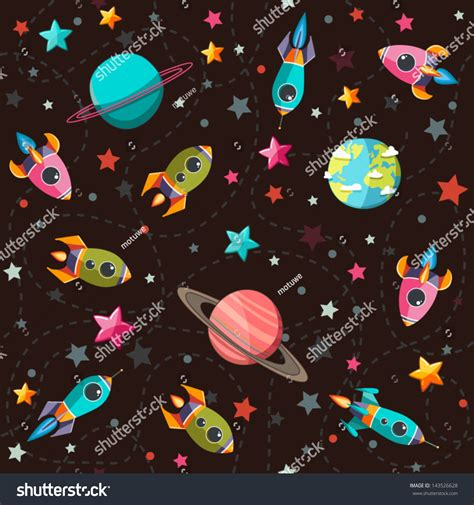 html input pattern space seamless space pattern planets rockets stars stock vector