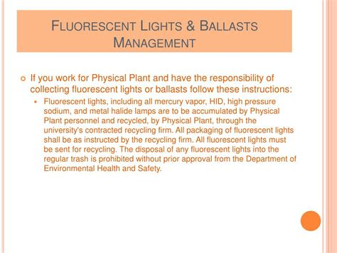 Identification Of L Ballasts Containing Pcbs by Ppt Universal Waste Powerpoint Presentation Id 561896