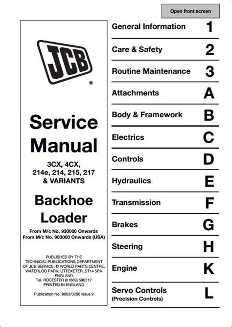 servicerepair manuals ownersusers manuals schematics jcb 3cx 4cx 214e 214 215 217 variants backhoe loader