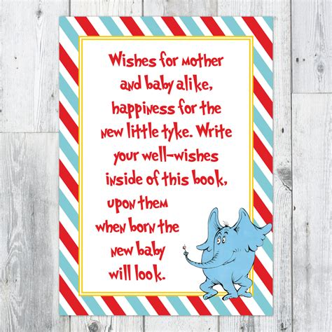 Well Wishes Baby Shower by Dr Seuss Baby Shower Well Wishes Printable Sign