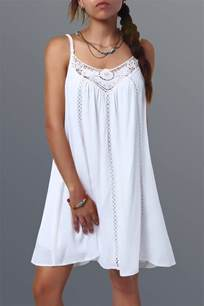 summer dress summer dresses white spaghetti lace splicing dress gamiss