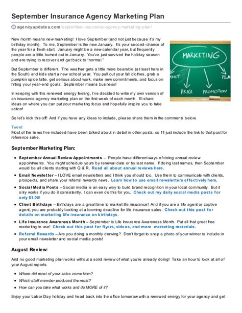 insurance marketing plan template insurance agency september marketing plan