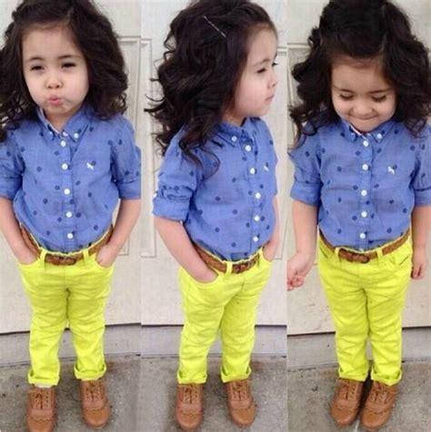 Stelan Babydoll Celana Anak Perempuan Kuning fahion gadis pakaian set kemeja biru celana kuning bayi perempuan pakaian anak anak set