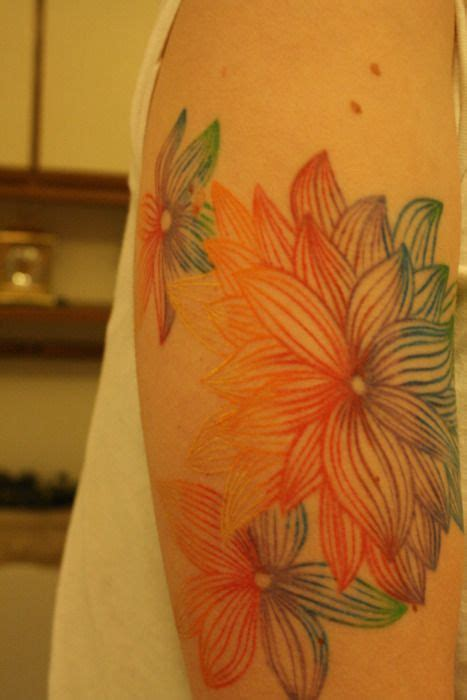 tattoos without outlines bold flowing colors line drawing without black outlines