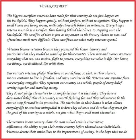 Veterans Essay by Essay Speech On Veterans Day For School Students In The Reading Point