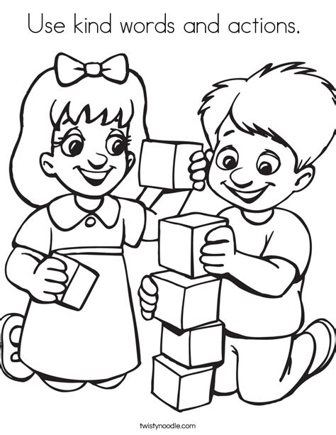 Kind Words Coloring Page | use kind words and actions coloring page twisty noodle
