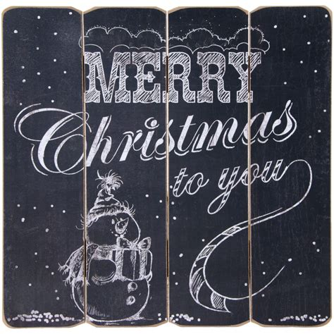 16 quot merry christmas slat sign chalkboard snowman 65037