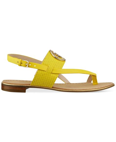 flat yellow sandals guess s redell flat sandals in yellow lyst