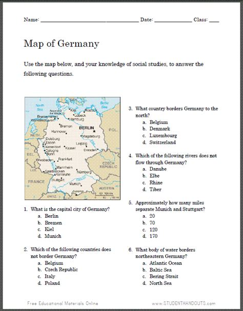 Germany Map Worksheet Student Handouts