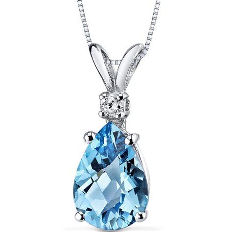 326 Ct Blue Topaz Millenium Pear Cut 14k white gold pear shape swiss blue topaz and pendant necklace genuine gemstone