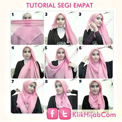 Tutorial Jilbab Ombre Segi Empat | 25 best ideas about hijab tutorial segi empat on