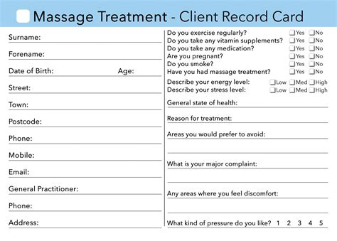 printable grooming client record cards template client card treatment consultation card