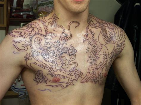 cute chest tattoos japanese chest design idea for