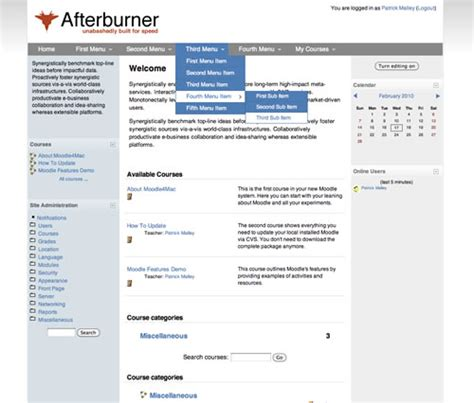 themes for moodle 1 9 moodle in english new theme afterburner moodle 1 9