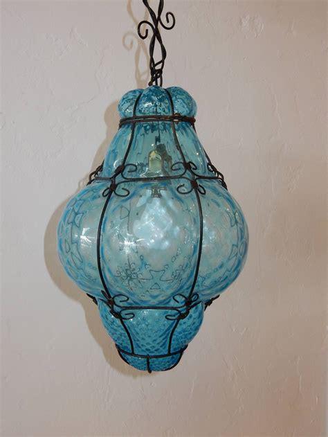 aqua glass pendant light italian cage art glass pendant l by seugso in aqua blue