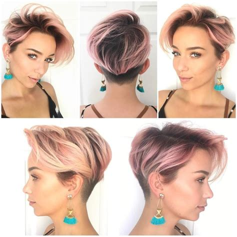 hairstylesforwomen shortcuts women s pink layered undercut pixie