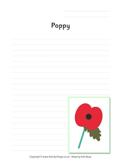 lined paper with poppy border poppy writing page