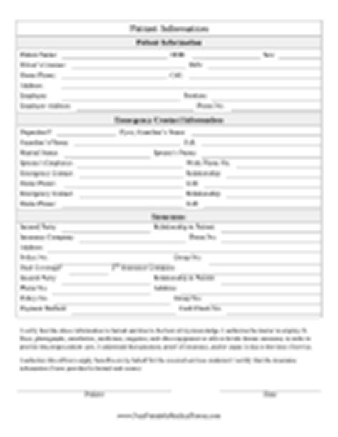 Patient Information Form Medical Form Hypnosis Intake Form Template