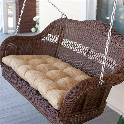 wicker swing casco bay resin wicker porch swing walnut at hayneedle