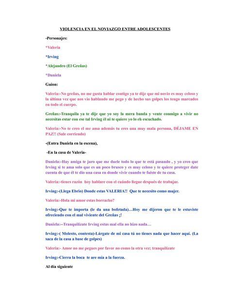 guiones teatrales de comedia para 6 personajes calam 233 o guion de la violencia en el noviazgo