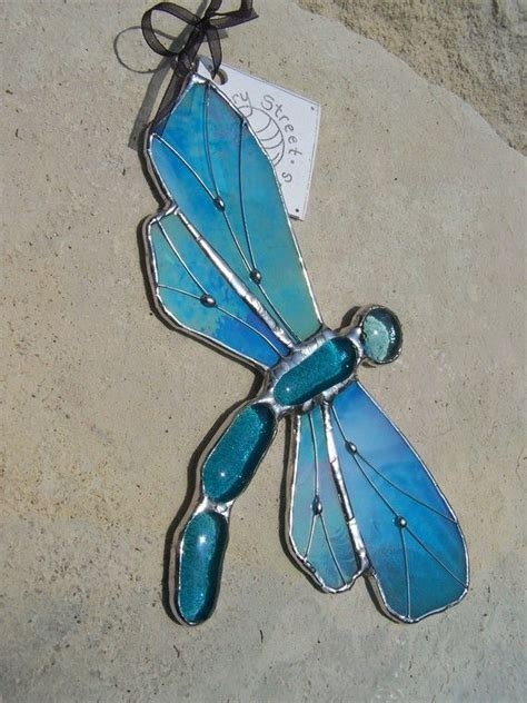 dragonfly stained glass l iridescent blue dragonfly stained glass suncatcher by