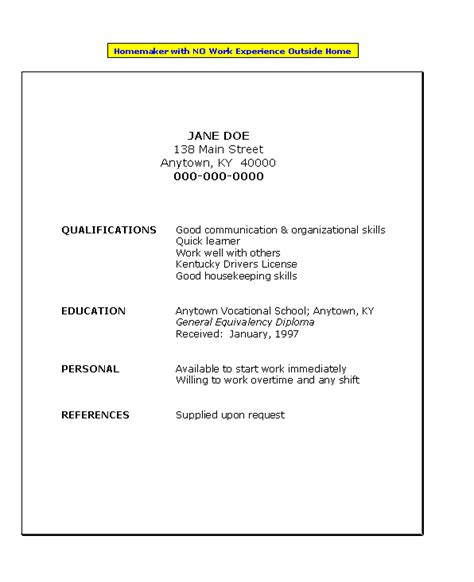 Resume Templates With No Work Experience by Resume For Homemaker With No Work Experience Search