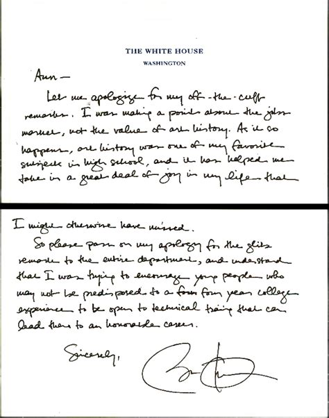 Apology Letter Format To Professor The Obama Apology Note And The About History Ut News The Of