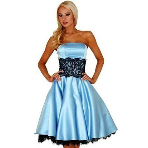 light blue satin dress light blue satin black lace prom dresses knee length