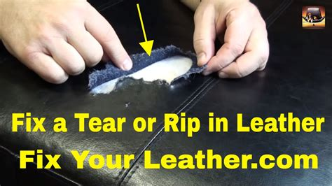 how to repair a small tear in leather couch leather tear repair large tear in bycast leather youtube