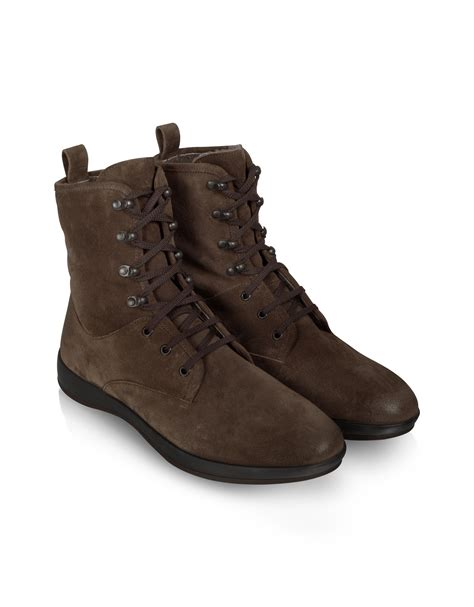 black or brown boots moreschi brown suede lace up ankle boot in brown for