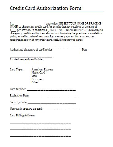 credit card form template credit card authorization and consent form for therapy