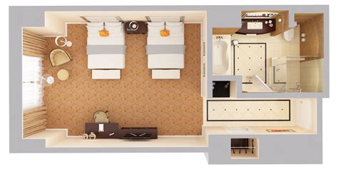 layout of twin room in hotel waldorf astoria orlando luxury resort near disney 3d