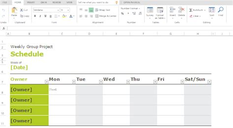 group schedule templates for excel powerpoint presentation