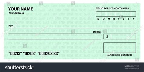 joke cheque template blank cheque template stock vector 231773500